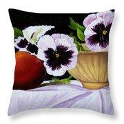 Pansies In Bowl Throw Pillow