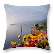 Pansies On Lake Maggiore Throw Pillow