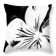 Pansy Flower Black And White 02 Throw Pillow