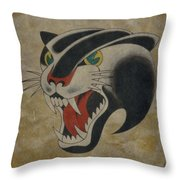 Traditional Tattoo Panther  Throw Pillow