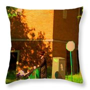 Papa And The Little Ones Sunday Afternoon Stroll On The Avenues Montreal City Scene Carole Spandau Throw Pillow