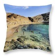 Papagayo Beach On Lanzarote Throw Pillow