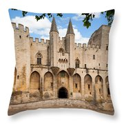 Papal Castle In Avignon Throw Pillow by Inge Johnsson