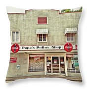 Papa's Poboy Shop Throw Pillow
