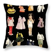 Paper Doll Amy Throw Pillow by Marilyn Smith