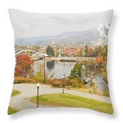 Paper Mill And Fall Colors In Rumford Maine Throw Pillow