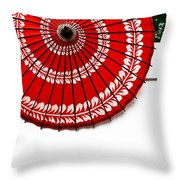 Paper Umbrella With Swirl Pattern On Fence Throw Pillow