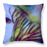 Papillon Bleu Throw Pillow
