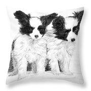 Papillon Puppies Throw Pillow