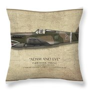 Pappy Boyington P-40 Warhawk - Map Background Throw Pillow