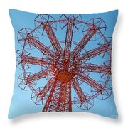 Parachute Jump-coney Island Throw Pillow