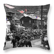 Parade Bisbee Arizona July 4th 1909 Color Added 2013 Throw Pillow