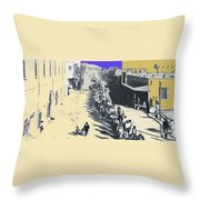 Parade Honoring General Nelson A. Miles  11-08-1887 Geronimo's Capture Tucson Color Added 2008 Throw Pillow