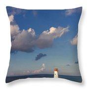 Paradise Island Lighthouse Throw Pillow by Stephanie McDowell