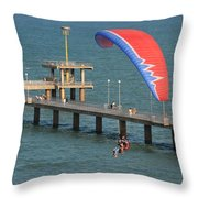 Paraglider Near Bourgas Throw Pillow