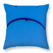 Paragliding In Blue Throw Pillow