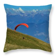 Paragliding In The Mountains Throw Pillow