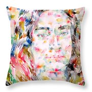 Paramahansa Yogananda Watercolor Portrait Throw Pillow
