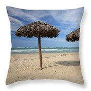 Parasols On Varadero Beach Throw Pillow
