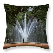 Parc De Bruxelles Fountain Throw Pillow