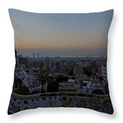 Parc Guell At Sunrise Throw Pillow