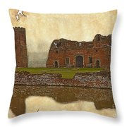 Parchment Texture Kirby Muxloe Castle Throw Pillow