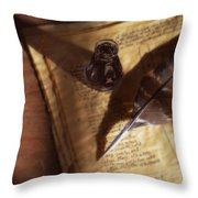 Parchment With Ink And Quill Pen Throw Pillow