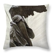 Paris Angel Louvre Museum- Winged Victory Of Samothrace Throw Pillow