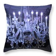 Paris Blue Crystal Chandelier Sparkling Chandelier Art - Paris Blue Shimmering Chandelier Art Deco  Throw Pillow by Kathy Fornal