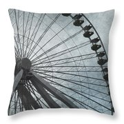 Paris Blue Ferris Wheel Throw Pillow
