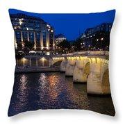 Paris Blue Hour - Pont Neuf Bridge And La Samaritaine Throw Pillow