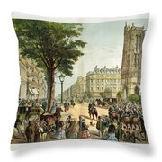 Paris Boulevard, 1859 Throw Pillow