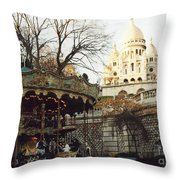 Paris Carousel Merry Go Round Montmartre - Carousel At Sacre Coeur Cathedral  Throw Pillow