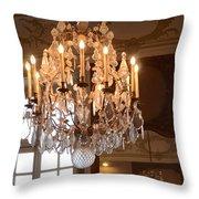 Paris Crystal Chandelier - Paris Rodin Museum Chandelier - Sparkling Crystal Chandelier Reflection Throw Pillow