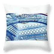 Paris Design In Blue Throw Pillow