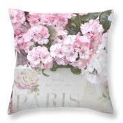 Paris Pink Flowers, Parisian Shabby Chic Paris Flower Box - Paris Floral Decor Throw Pillow