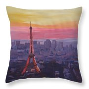 Paris Eiffel Tower At Dusk Throw Pillow