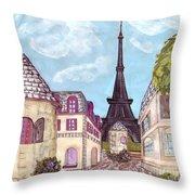 Paris Eiffel Tower Inspired Impressionist Landscape Throw Pillow