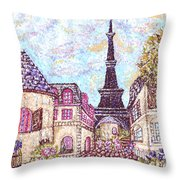 Paris Eiffel Tower Skyline Inspired Pointillist Landscape Throw Pillow