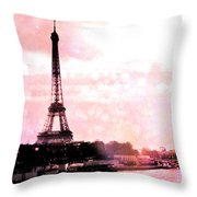 Paris Eiffel Tower Pink - Dreamy Pink Eiffel Tower With Hot Air Balloon Throw Pillow