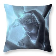 Eros Psyche Louvre Sculpture - Paris Eros And Psyche Romance Lovers  Throw Pillow