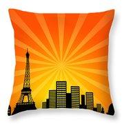 Paris France Downtown City Skyline Throw Pillow