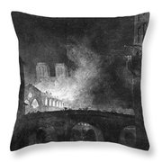 Paris, France Fire, 1773 Throw Pillow