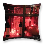 Paris Holiday Christmas Wine Window Display - Paris Red Holiday Wine Bottles Window Display  Throw Pillow by Kathy Fornal