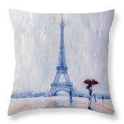 Paris In Rain Throw Pillow