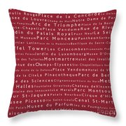 Paris In Words Red Throw Pillow