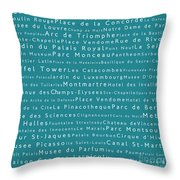 Paris In Words Teal Throw Pillow