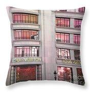 Paris Louis Vuitton Boutique Fashion Shop On The Champs Elysees Throw Pillow