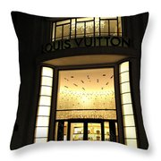 Paris Louis Vuitton Boutique Store Front - Paris Night Photo Louis Vuitton - Champs Elysees  Throw Pillow