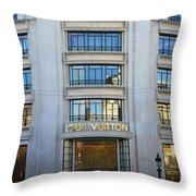 Paris Louis Vuitton Fashion Boutique - Louis Vuitton Designer Storefront In Paris Throw Pillow